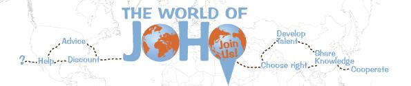 The world of JoHo footer met landenkaart